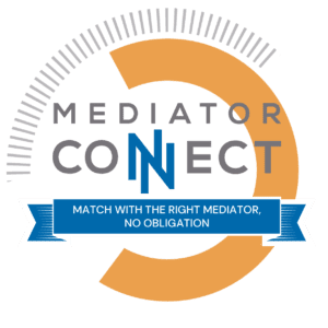 """Mediator Connect graphic with the words """"Match with the right mediator, no obligation."""""""