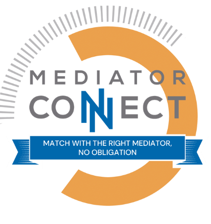"Mediator Connect graphic with the words ""Match with the right mediator, no obligation."""