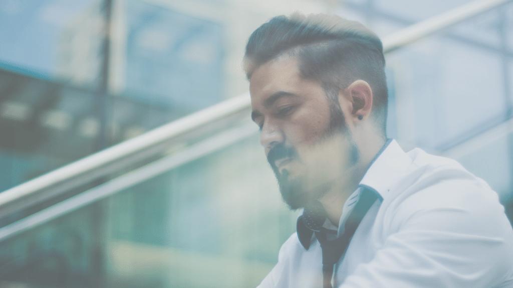 man white dress shirt through window